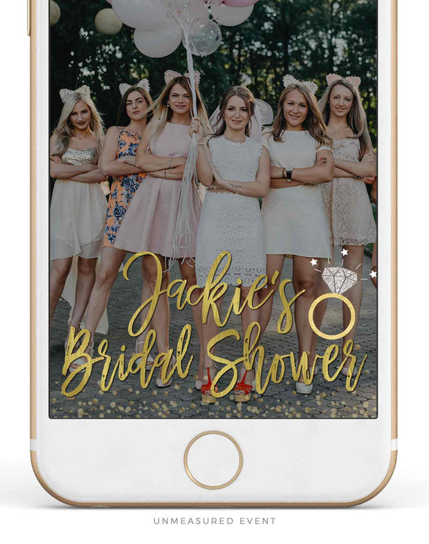 Golden Bridal Shower Snapchat Filter Template - Unmeasured Events