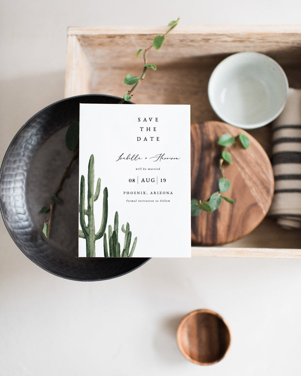 Eleanor - Bohemian Cactus Wedding Save the Date Template - Unmeasured Events