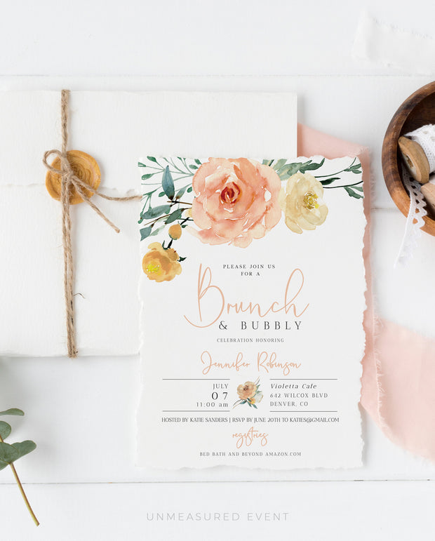 Sloane - Peachy Floral Bridal Shower Invitation Template
