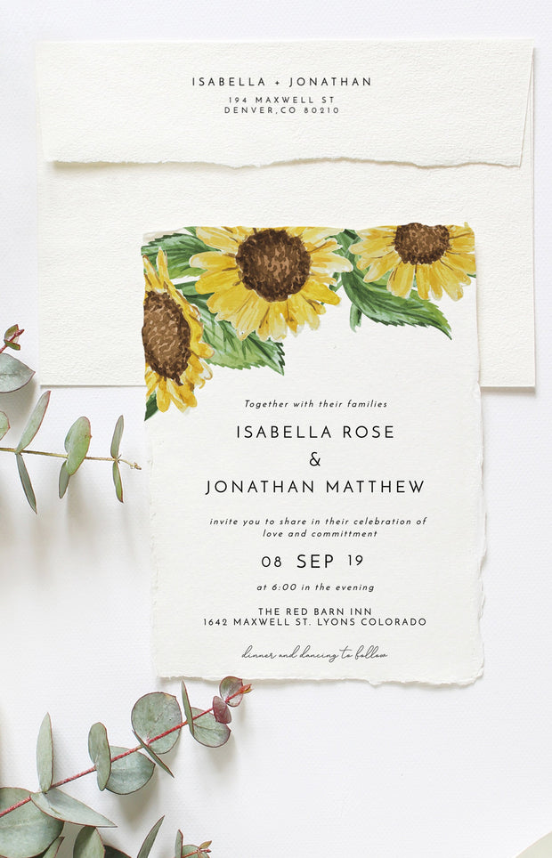 Emma - Rustic Sunflower Wedding Invitation Template Suite - Unmeasured Events