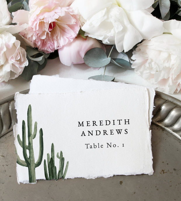 Eleanor - Bohemian Cactus Wedding Place Card Template - Unmeasured Events