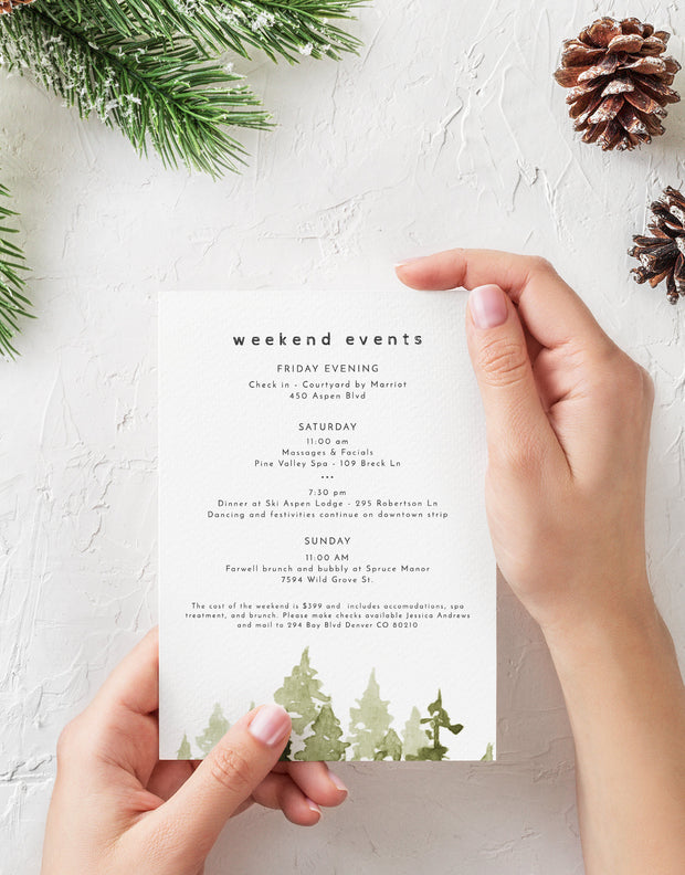 Jenna - Rustic Pine Tree Bachelorette Weekend Invitation & Itinerary Template - Unmeasured Events