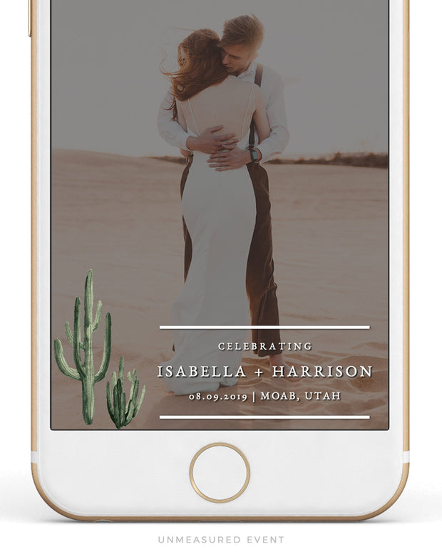 Eleanor - Bohemian Cactus Wedding Snapchat Geofilter Template - Unmeasured Events