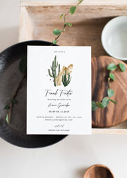 Eleanor - Bohemian Cactus Final Fiesta Bachelorette Invitation Template - Unmeasured Events