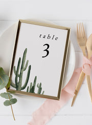 Eleanor - Bohemian Cactus Wedding Table Number Template - Unmeasured Events