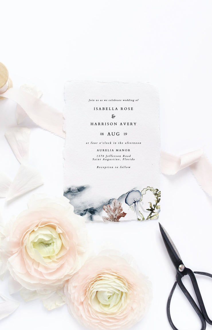Alana - Modern Beach Wedding  Invitation Template Suite - Unmeasured Events