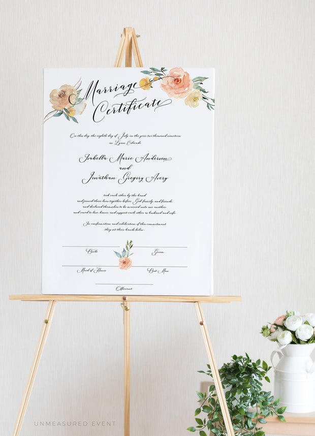 Sloane - Peachy Floral Marriage Certificate Template - Unmeasured Events