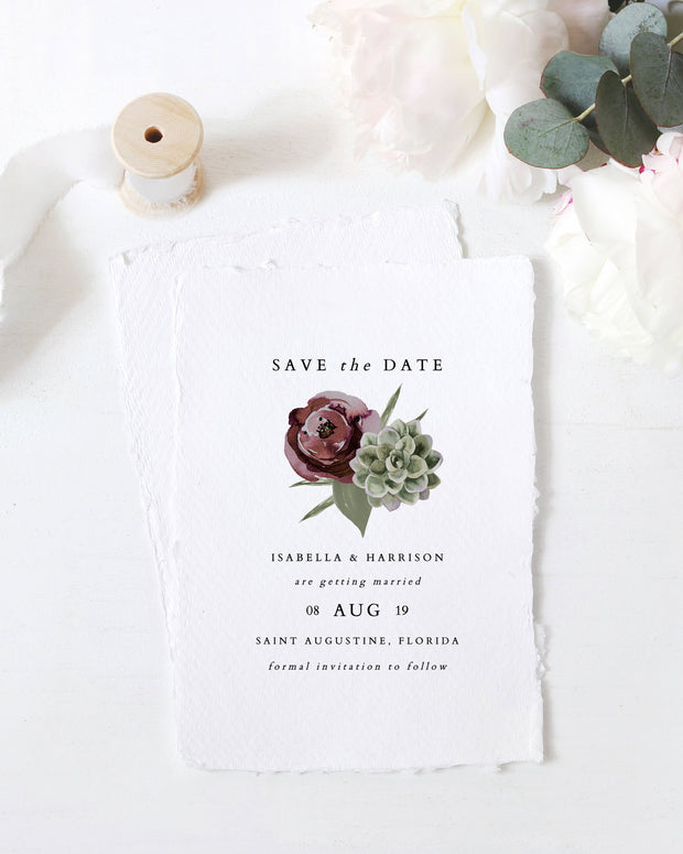 Ava - Boho Burgundy & Succulent Wedding Save the Date Template