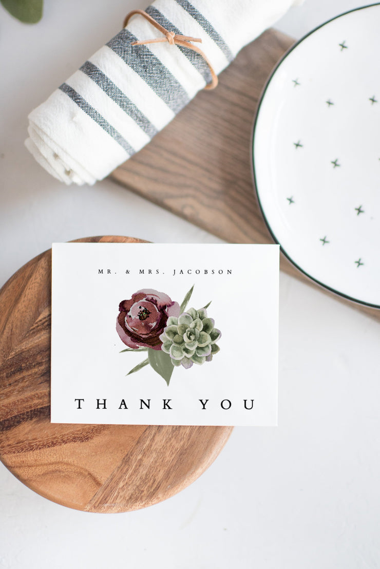 Ava - Boho Burgundy & Succulent Wedding Thank You Card Template - Unmeasured Events