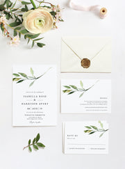 Isabella - Minimal Greenery Wedding Invitation Template Suite