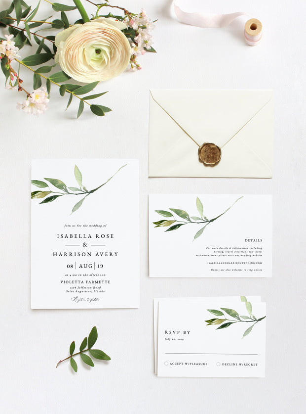 Isabella - Minimal Greenery Wedding Invitation Template Suite - Unmeasured Events