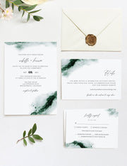 Emerald - Abstract Green Watercolor Wedding Invitation Template Suite - Unmeasured Events