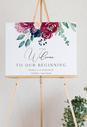Bella - Marsala Floral Wedding Welcome Sign Template