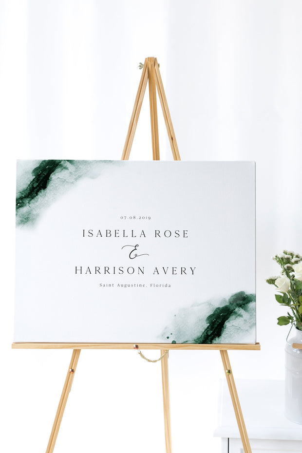 Emerald - Abstract Green Watercolor Wedding Welcome Sign Template - Unmeasured Events