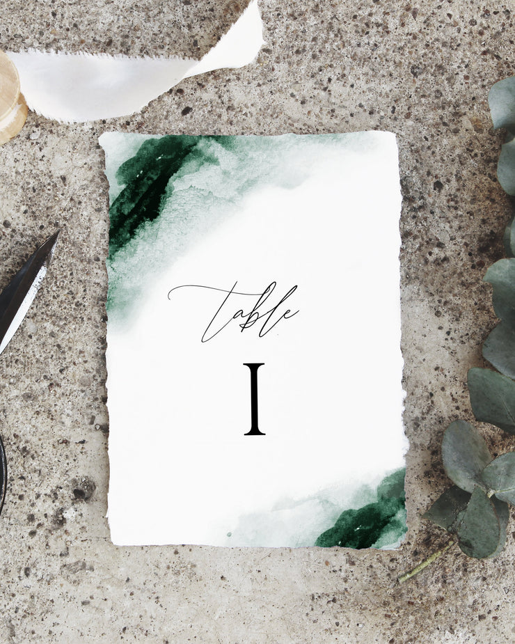 Emerald - Abstract Green Watercolor Wedding Table Number Template - Unmeasured Events