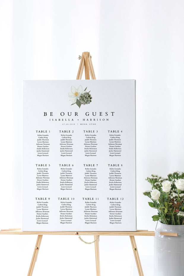 Cara - White Magnolia and Succulent Wedding Seating Chart Template