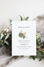 Cara - White Magnolia and Succulent Wedding Save the Date Template - Unmeasured Events