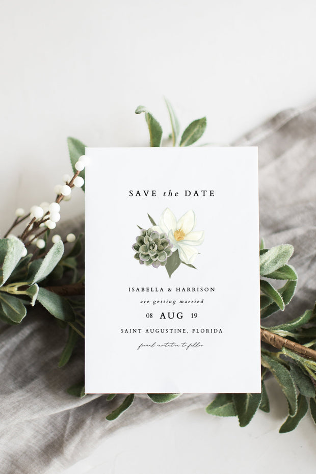 Cara - White Magnolia and Succulent Wedding Save the Date Template