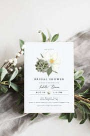 Cara - White Magnolia and Succulent Bridal Shower Invitation Template - Unmeasured Events