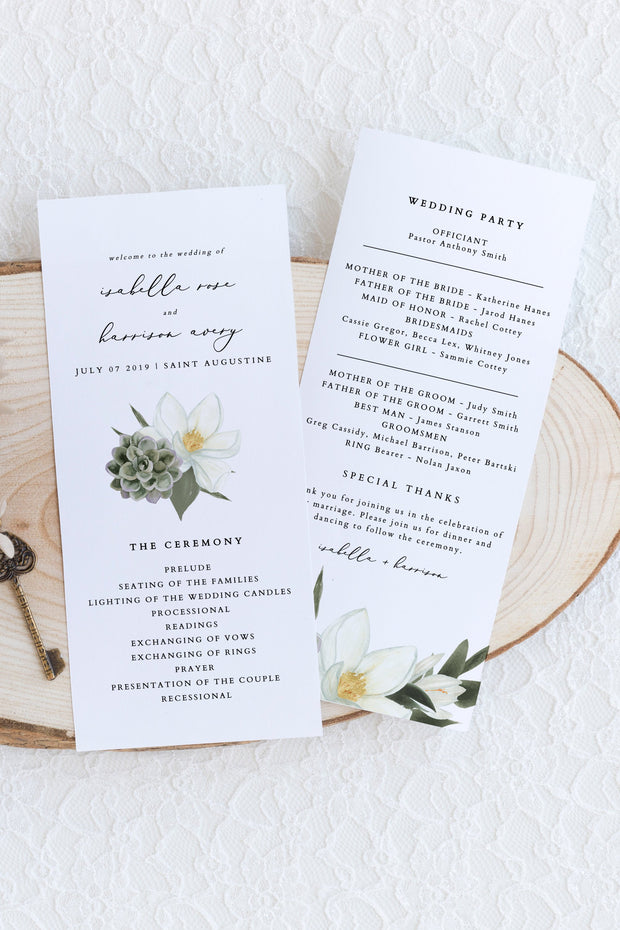 Cara - White Magnolia and Succulent Wedding Program Template - Unmeasured Events