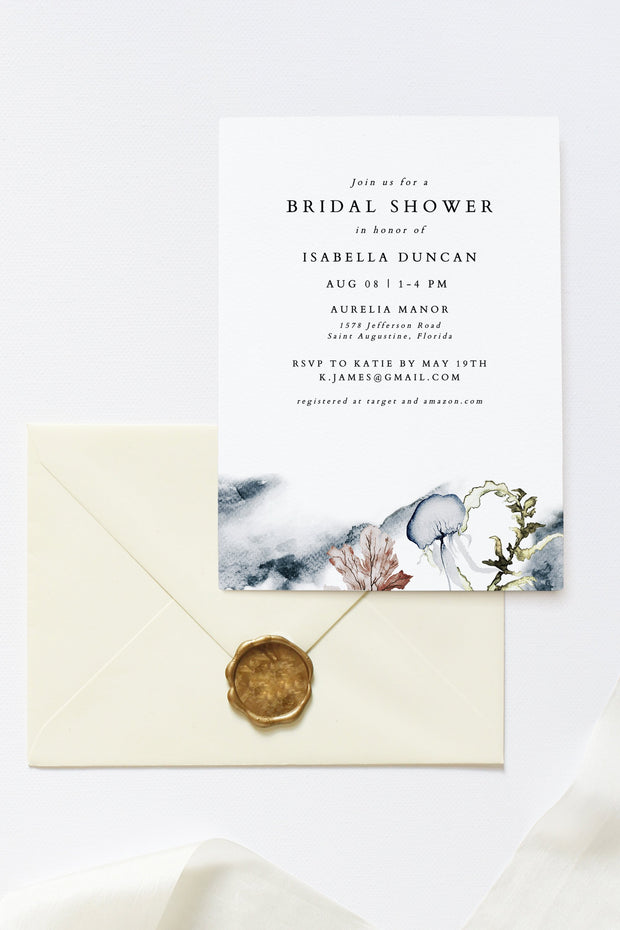 Alana - Modern Beach Bridal Shower Invitation Template - Unmeasured Events