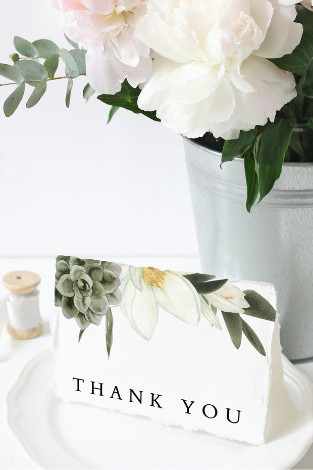 Cara - White Magnolia and Succulent Thank You Card Template