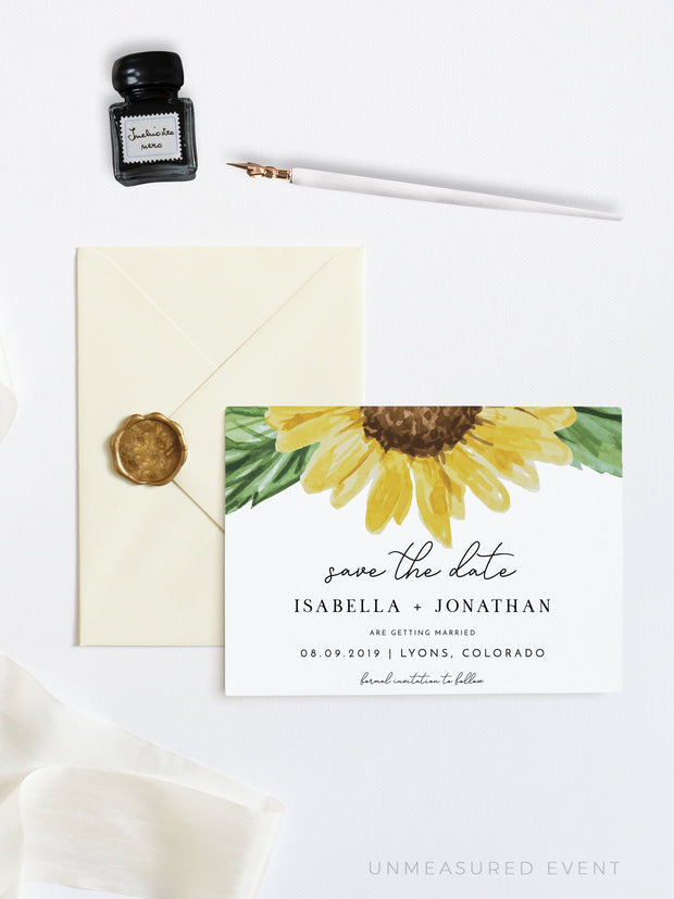 Emma - Rustic Sunflower Wedding Save the Date Template - Unmeasured Events