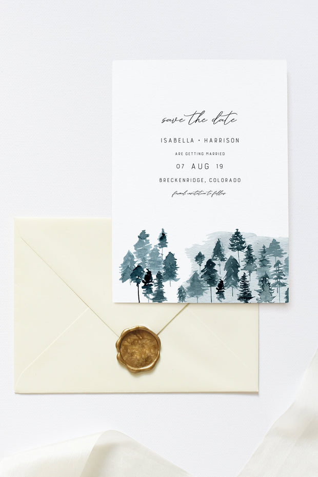 Hayden - Rustic Mountain Save the Date Template