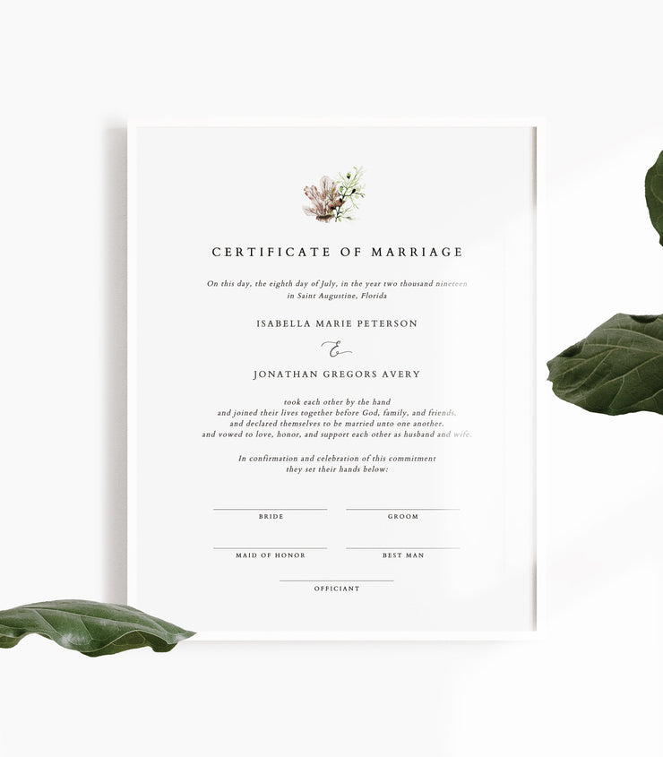 Alana - Modern Beach Wedding  Marriage Certificate Template - Unmeasured Events