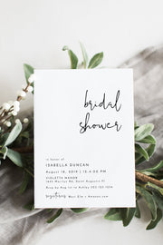 Adella - Modern Minimalist Bridal Shower Invitation Template