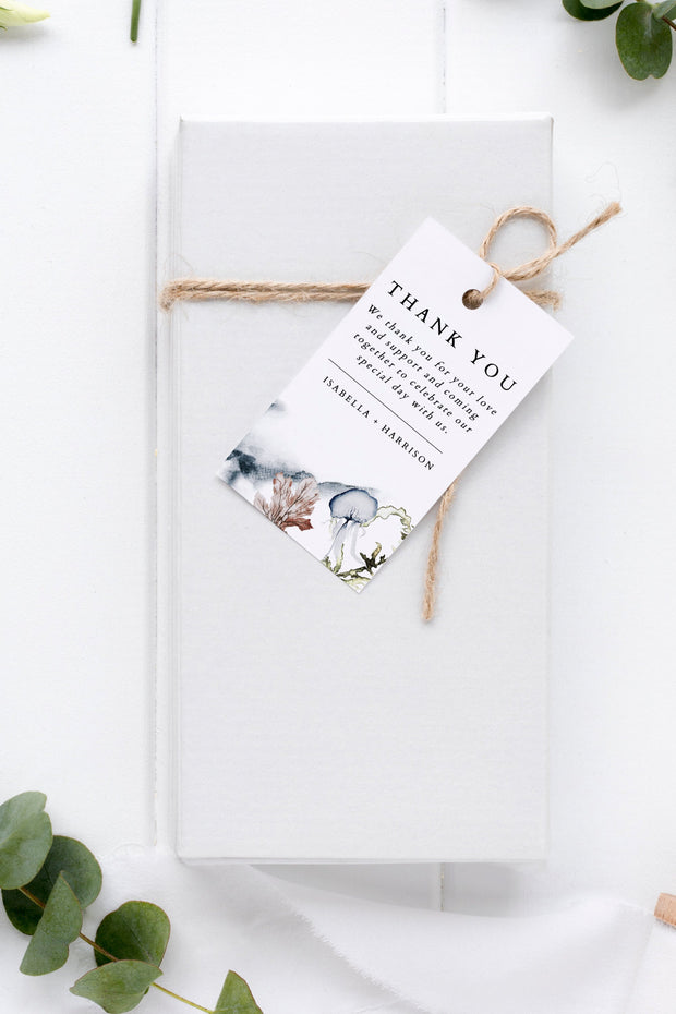 Alana - Modern Beach Wedding Gift Tag Template - Unmeasured Events