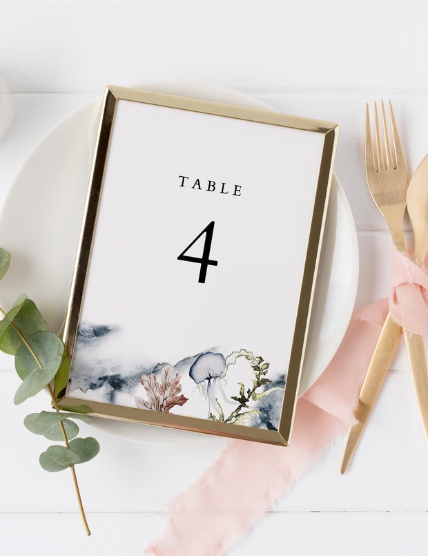 Alana - Modern Beach Wedding Table Number Template