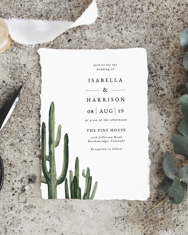 Eleanor - Bohemian Cactus Wedding Invitation Template Suite