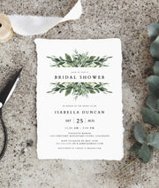 Lana - Modern Greenery Bridal Shower Invitation Template - Unmeasured Events