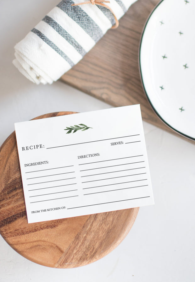 Lana - Modern Greenery Recipe Card Template - Unmeasured Events