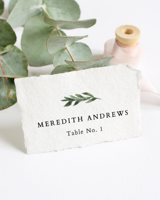 Lana  - Modern Greenery Wedding Place Card Template - Unmeasured Events