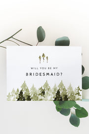 Jenna - Rustic Pine Tree Bridesmaid Proposal Card Template - Unmeasured Events