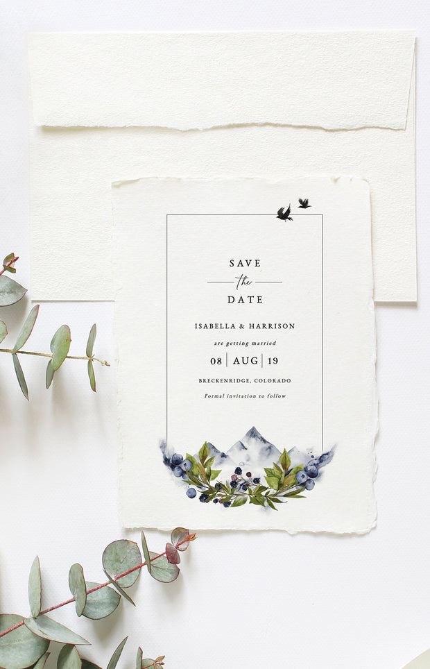 Sierra - Boho Mountain Wedding Save the Date Template - Unmeasured Events