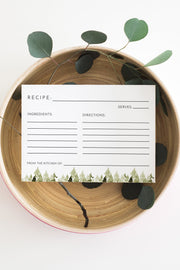 Jenna - Rustic Pine Tree Recipe Card Template - Unmeasured Events