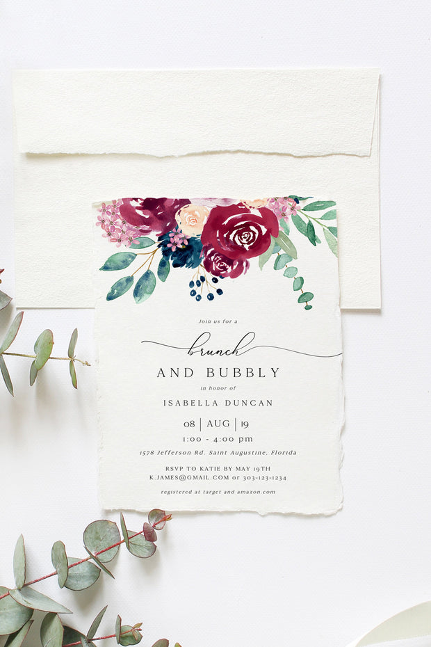 Bella - Marsala Floral Wedding Bridal Shower Invitation Template
