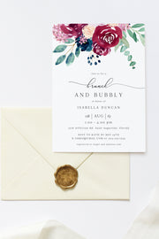 Bella - Marsala Floral Wedding Bridal Shower Invitation Template - Unmeasured Events