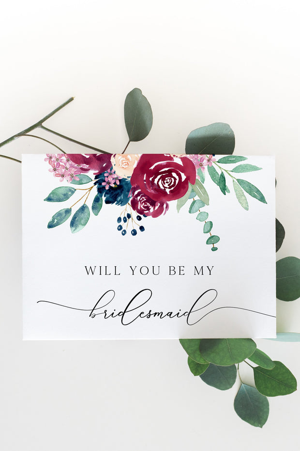 Bella - Marsala Floral Wedding Bridesmaid Proposal Card Template
