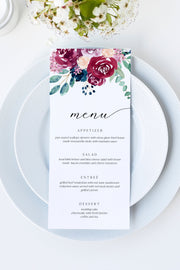 Bella - Burgundy Floral Wedding Menu Template