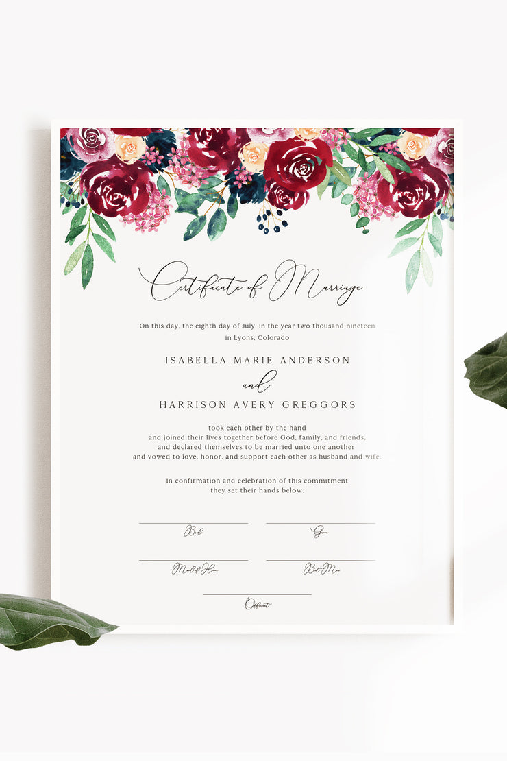 Bella - Marsala Floral Wedding Marriage Certificate Template - Unmeasured Events