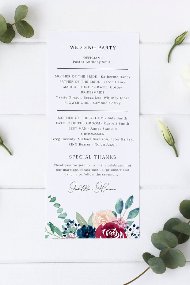 Bella - Marsala Floral Wedding Program Template - Unmeasured Events