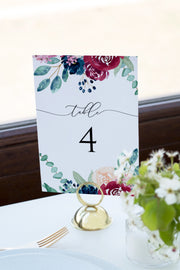 Bella - Marsala Floral Wedding Table Number Template