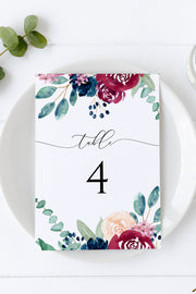 Bella - Marsala Floral Wedding Table Number Template - Unmeasured Events