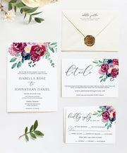 Bella - Marsala Floral Wedding Invitation Large Template Bundle - Unmeasured Events