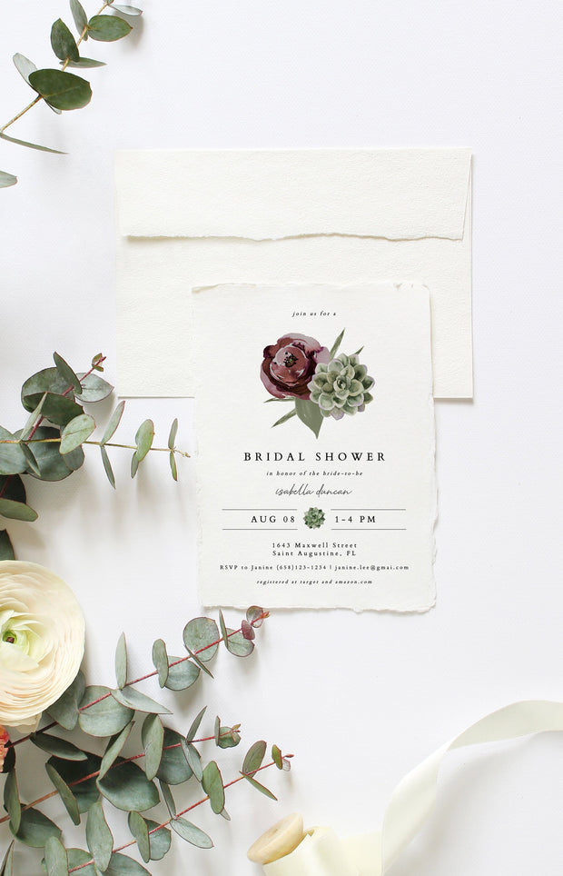 Ava - Boho Burgundy & Succulent Bridal Shower Invitation Template