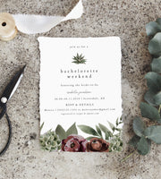 Ava - Boho Burgundy & Succulent Bachelorette Party Invitation & Itinerary Template - Unmeasured Events